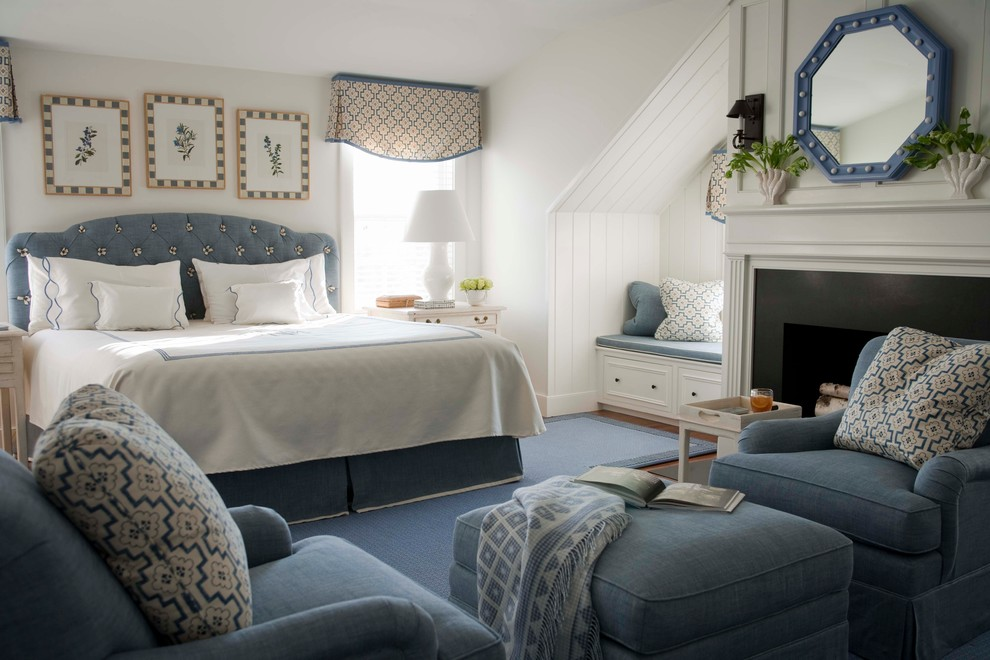 valance ideas Bedroom Traditional with armchairs bed skirt blue built ins club chairs denim Fireplace master bedroom