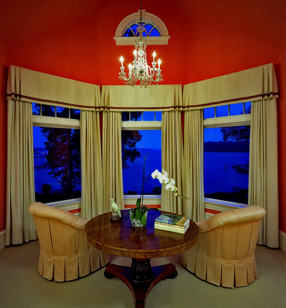 Valance Ideas Living Room Traditional with Arch Window Bay Window Large Window Molding Pedestal Table Red Walls Round
