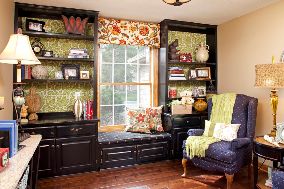 Valance Patterns Home Office Traditional with Beige Wall Dark Wood Backsplash Dark Wood Floor Floral Curtains Floral Valance