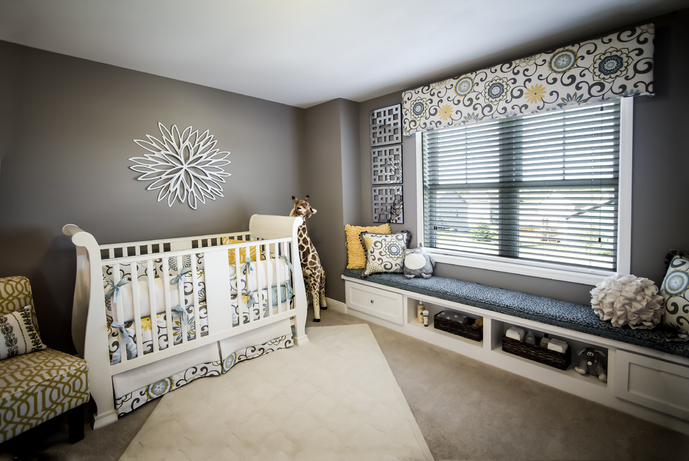 Valance Patterns Nursery Transitional with Crib Custom Cabinet Gray Walls Nursery Valance White Ceiling Window Seat