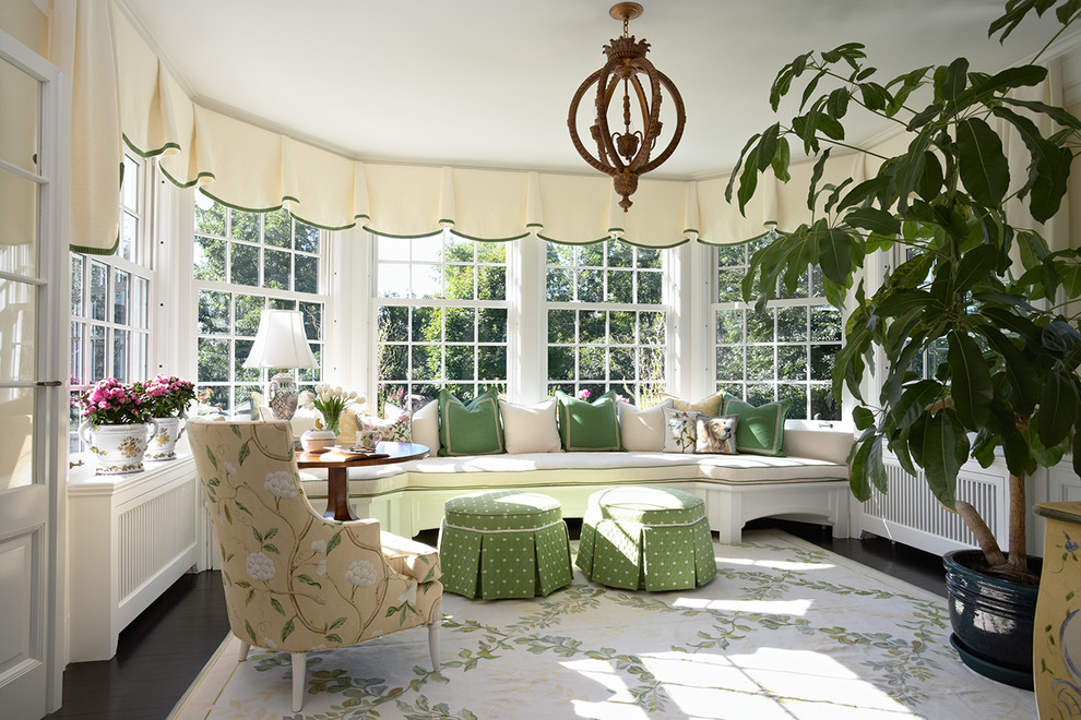 Valances Sunroom Traditional with Area Rug Chandelier Dark Floor Decorative Pillows Double Hung Windows Floral Print