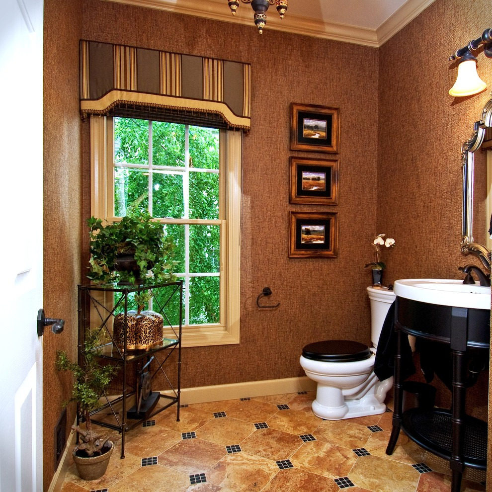 Valances for Living Room Powder Room Traditional with Bathroom Lighting Beige Ceiling Beige Molding Beige Tile Floor Black and White