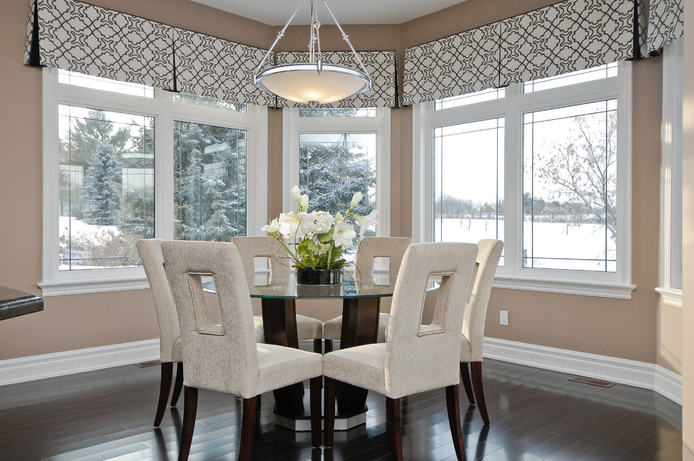 valances for windows Dining Room Contemporary with bay black and white window treatments ceiling pendant dark hardwood floors glass