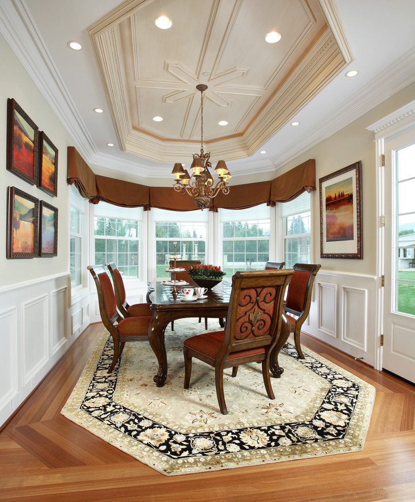 Valances for Windows Dining Room Traditional with Artwork Bay Window Chandelier Oriental Rug Valance Wainscoting Wall Art Wall Decor
