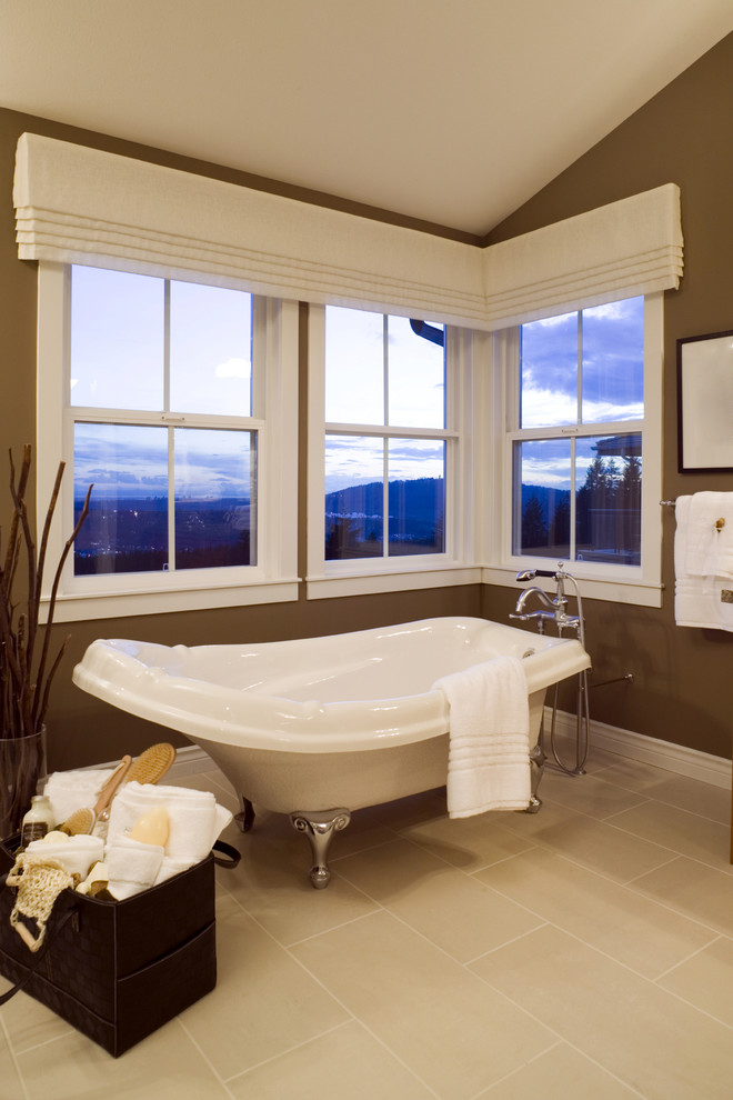 valances window treatments Bathroom Contemporary with angled ceiling basket bath bathroom storage bathtub branches brown brown and white