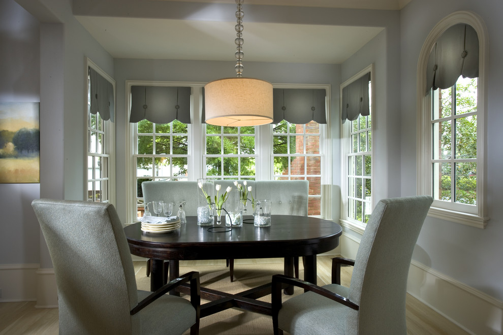 Valances Window Treatments Dining Room Traditional with Capped Baseboard Dining Nook Drum Shade Pendant Light Floral Arrangement Light Blue