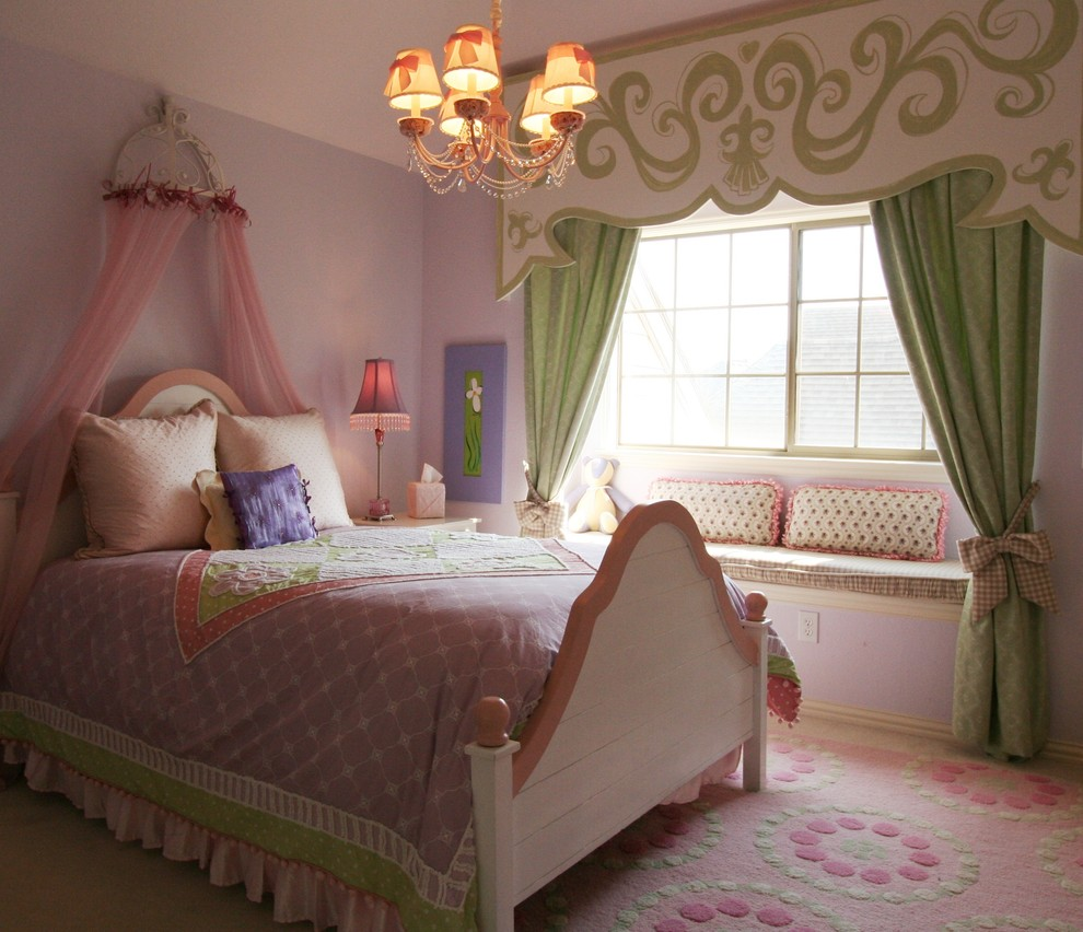 Valances Window Treatments Kids Traditional with Area Rug Bedroom Canopy Beds Chandelier Curtains Drapes Pendant Lighting Purple Duvet