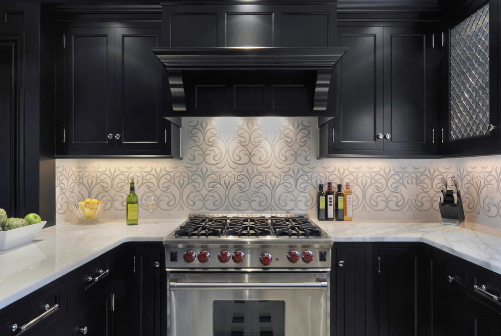 Valances Window Treatments Kitchen Contemporary with Artisan Tile Artistic Tile Azul Cielo Back Splash Black Cabinets Chateau Collection Custom