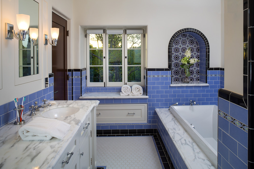 Vanities with Tops Bathroom Mediterranean with 20s Spanish Black Liner Tile Blue Tile Calacatta Marble Decorative Liner Tile