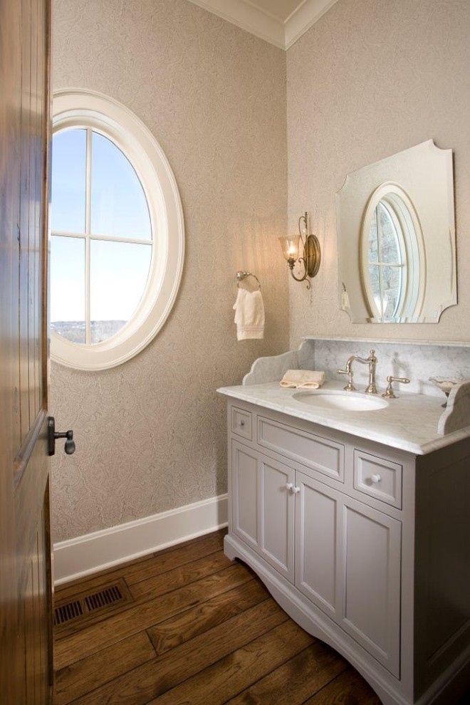 Vanities with Tops Bathroom Traditional with Baseboards Bathroom Mirror Freestanding Vanity Marble Countertops Martha Ohara Interiors Round Window