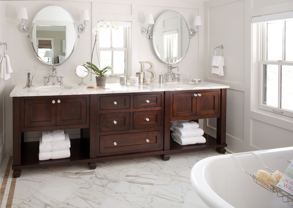 Vanities with Tops Bathroom Traditional with Clawfoot Tub Dark Stained Wood Double Bathroom Sink Double Sink Double Vanity