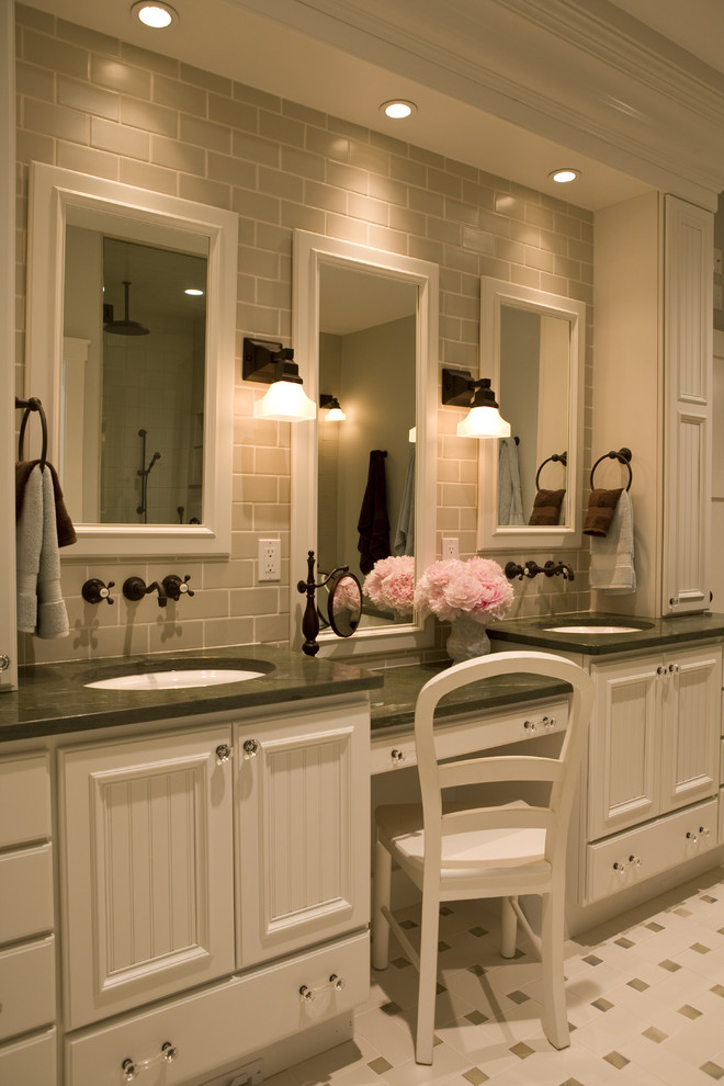 Vanity Dressing Table Bathroom Traditional with Bathroom Lighting Bathroom Tile Bathroom Tole Ceiling Lighting Double Sinks Double Vanities