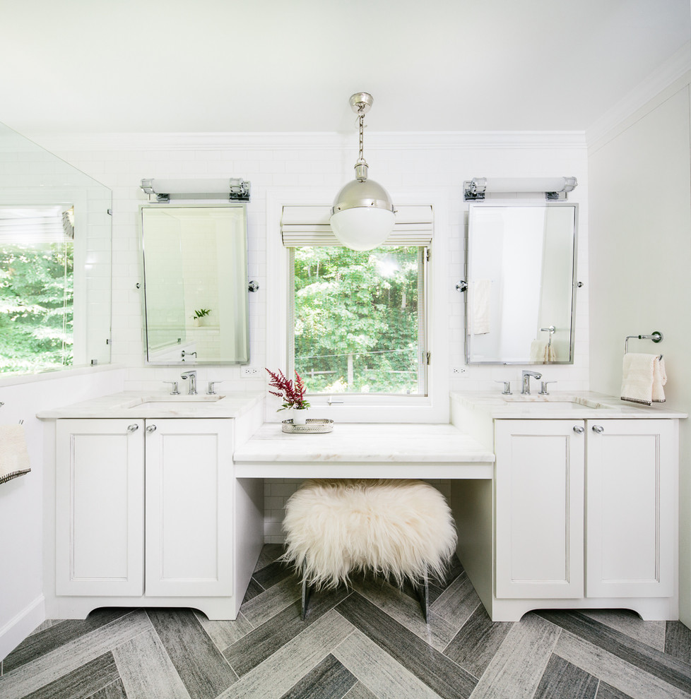 Vanity Makeup Table Bathroom Transitional with Double Sinks Herringbone Tile His and Hers Pendant Light Vanity Stool Wall