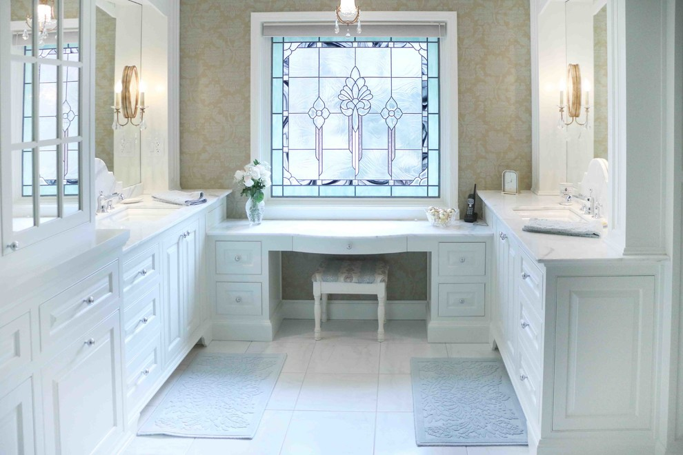 vanity makeup table Bathroom Victorian with bath mats candle sconces double sinks double vanity makeup table mirrors neutral