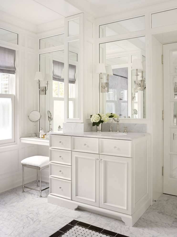 Vanity Stools Bathroom Traditional with Accent Floor Tile Upholstered Stool Wall of Mirrors Wall Sconce White Countertop