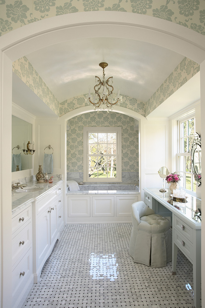 Vanity Stools Bathroom Traditional with Alcove Barrel Vault Basket Weave Blue Chandelier Marble Marble Countertops Mosaic Tiles