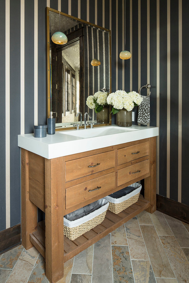 Vanity Tops with Sink Powder Room Transitional with Art Glass Lighting Blue Blue and Brown Blue and Cream Blue Striped