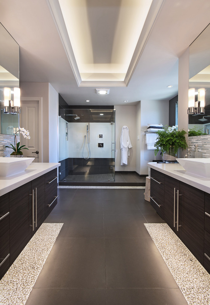 Vanity Trays Bathroom Contemporary with Caesarstone Counter Top Cove Lighting Floating Vanity Mirror Mounted Sconces Pebble Tile