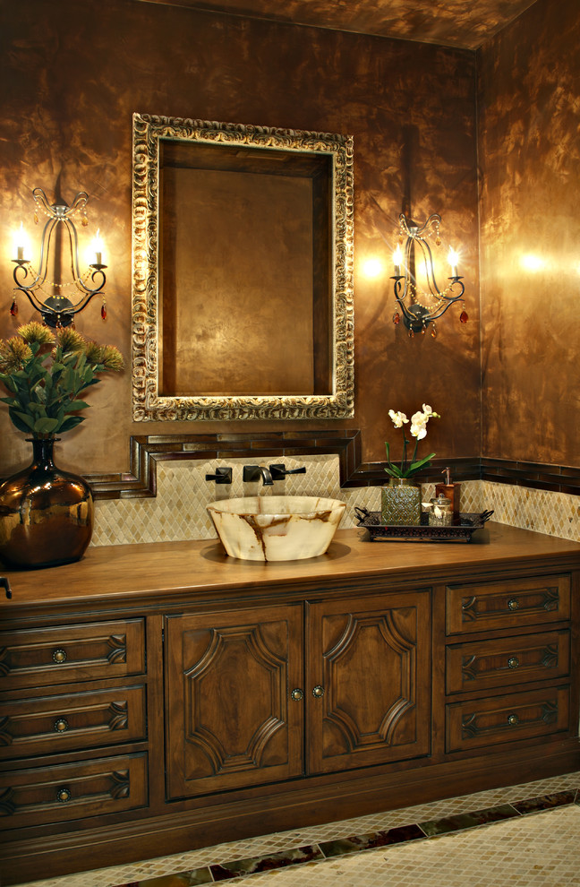 vanity trays Powder Room Traditional with beige tile floor bowl sink brown wall chandelier wall sconce colorful bathroom