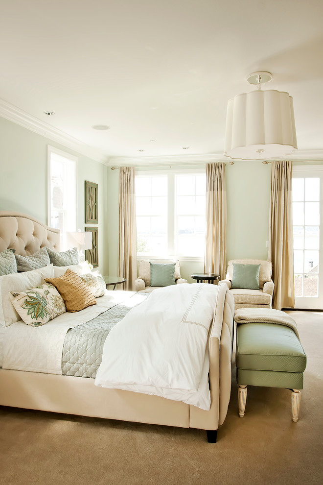 Vaughan Bassett Furniture Bedroom Traditional with Beige Carpet King Bed Light Green Walls Muted Color Palette Pastels Upholstered