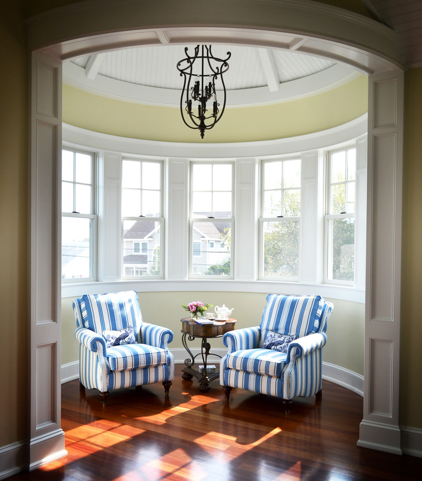 vaughan bassett furniture Bedroom Victorian with beadboard ceiling chandelier conical roof recessed panel side table striped arm chairs