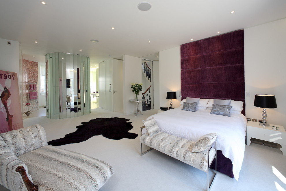 Velvet Headboard Bedroom Contemporary with Andries Kruger Bench Seat Black Carpeting Chaise Chrome Chrome Accent Table Cow