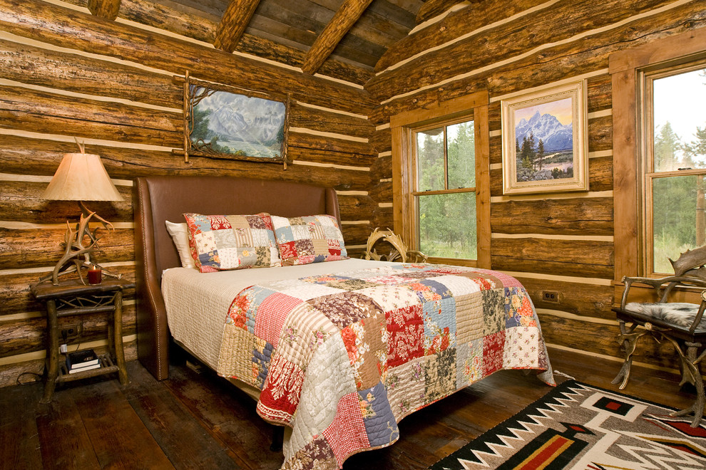 Velvet Quilt Bedroom Rustic with Antler Chair Antler Lamp Beams Cabin Leather Headboard Log Home Native American