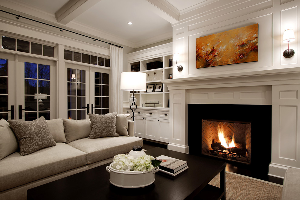 Vent Free Gas Fireplace Insert Living Room Traditional with Coffee Table Coffered Ceiling Curtain Panels Dark Stained Wood Floor Fireplace French