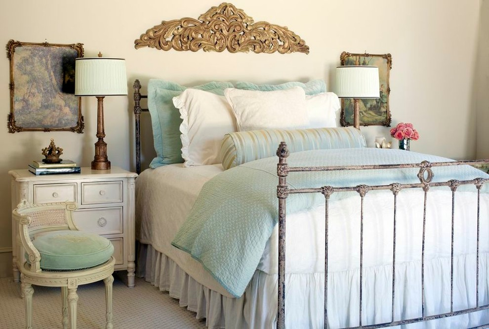 Veratex Bedding Bedroom Shabby Chic with Bed Bed Frame Bed Skirt Bedding Beige Painted Wall Bolster Carpeting Formal