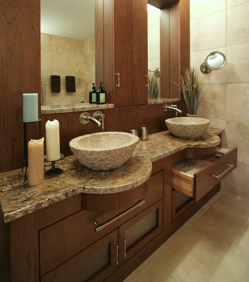 vessel faucets Bathroom Modern with alcove brushed metal candle Custom Cabinets Custom Woodwork dark stained wood marble
