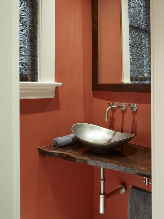 Vessel Sink Powder Room Contemporary with Contemporary Vanity Red Wall Steel Sink Wall Mounted Fixtures Wood Countertops