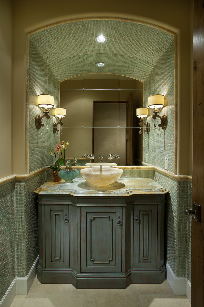 Vessel Sink Vanities Powder Room Contemporary with Arched Ceiling Beige Green Marble Counters Marble Sink Marble Trim Mirror Single