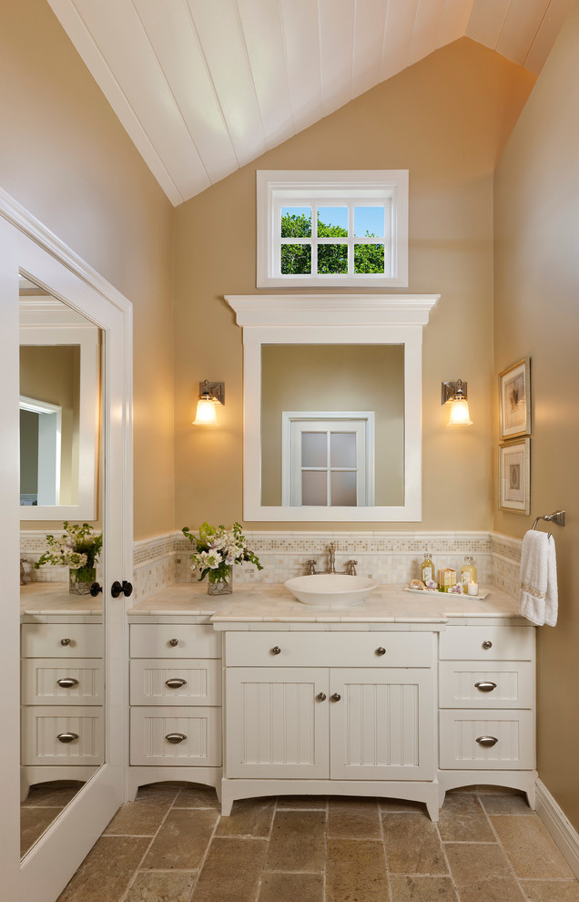 Vessel Sink Vanity Bathroom Traditional with Beadboard Cabinet Bin Pull Marble Counter Mirrored Door Sconce Slanted Ceiling Tan