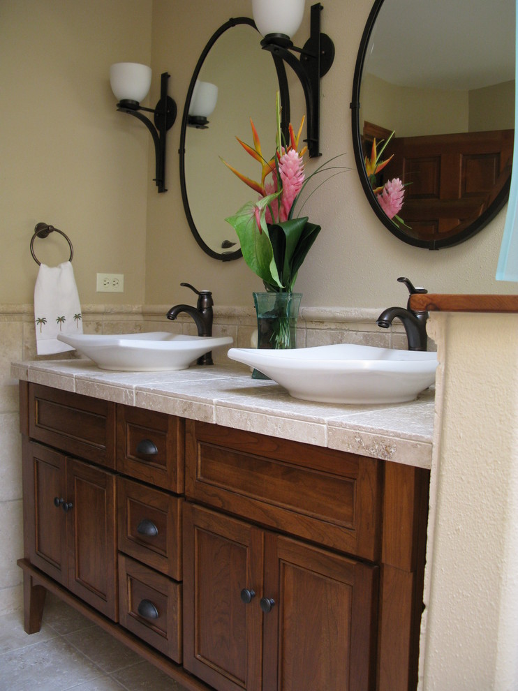 Vessel Sinks Bathroom Tropical with Furniture Style Cabinet Guest Bath Natural Cherry Oil Rubbed Bronze Travertine