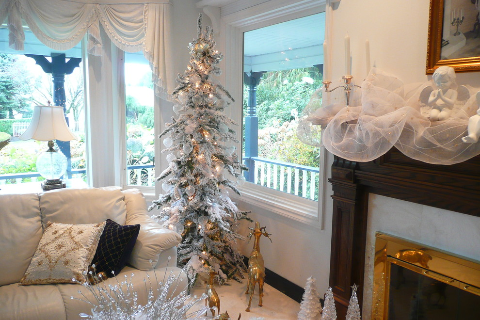 Vickerman Living Room Traditional with Christmas Mantel Christmas Tree Entry Door Flocked Skinny Tree Gauze on Mantel2