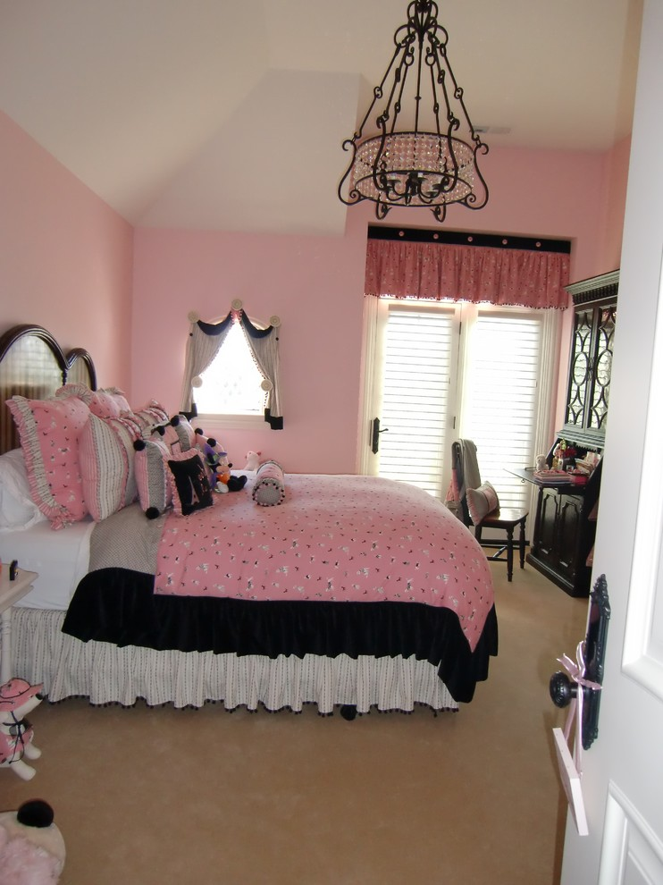 Victorian Bedding Bedroom Traditional with Bedding Chanddelier Drapes Girls Bedroom Pink and Black Color Scheme
