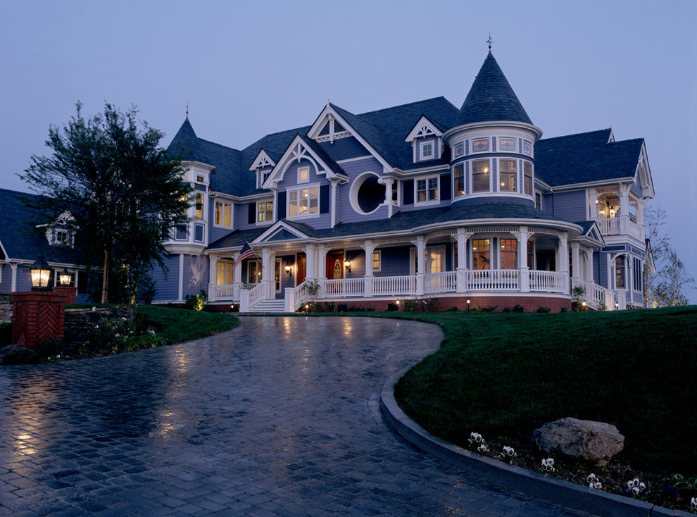 Victorian Bedding Exterior Victorian with Balcony Blue Cobblestone Driveway Edging Gingerbread Gray Porch Shingle Style Shingles Shutters