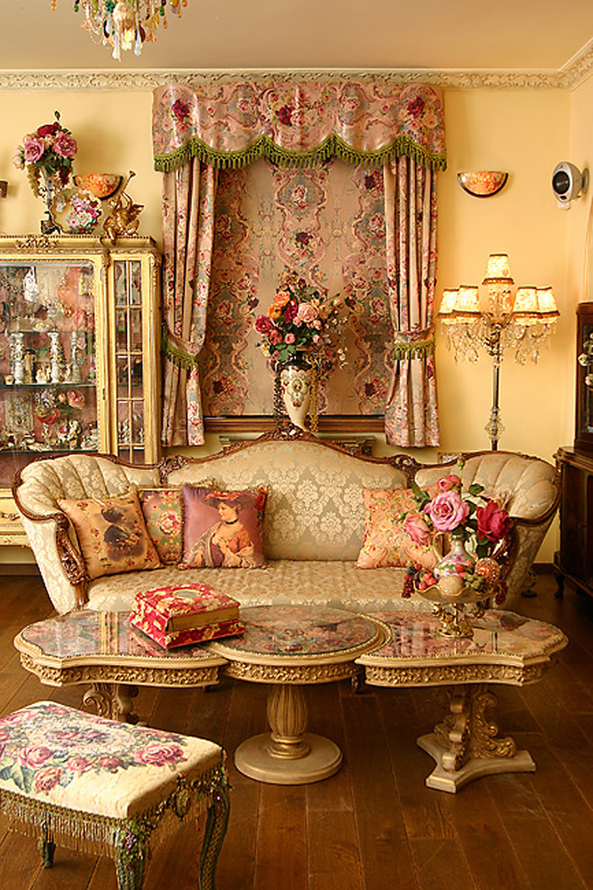 Victorian Bedding Living Room Victorian with China Cabinet Chintz Crystal Floor Lamp Floral French Fringe Gold Needlepoint Ornate