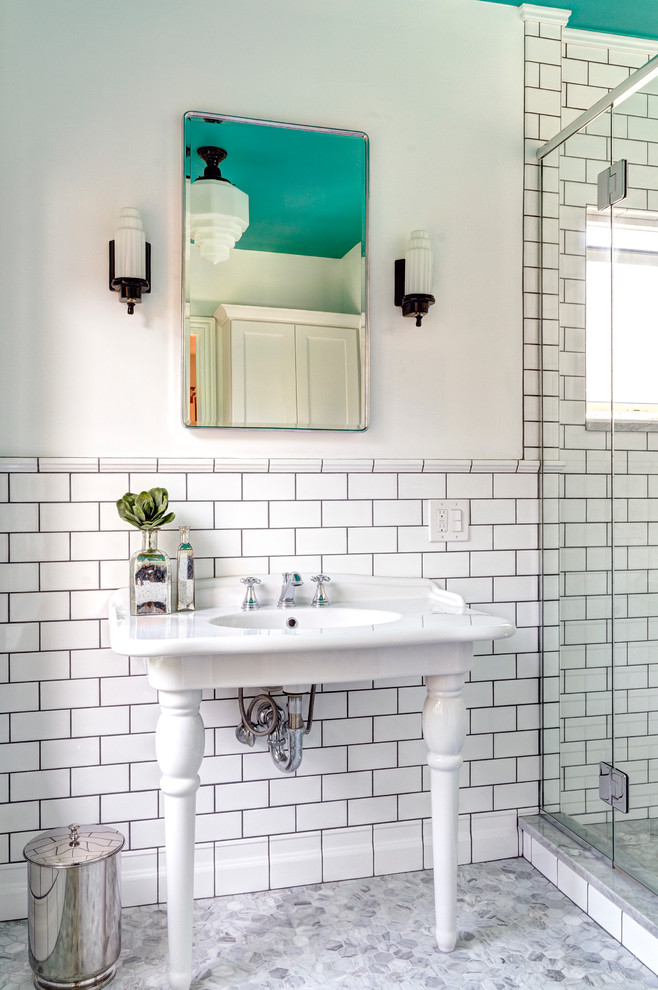 Vintage Medicine Cabinet Bathroom Transitional with Chrome Dark Grout Exposed Plumbing Historic Historical Lighting Natural Lighting Painted Ceiling