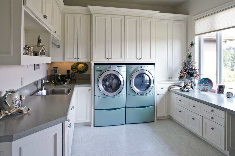 Vinyl Floor Tiles Laundry Room Traditional with Blue Washer Dryer Cream Cabinets Front Loading Gray Counter Large Laundry Room