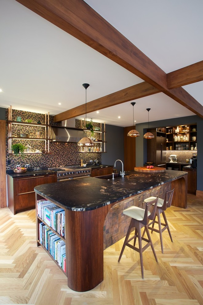 Vitamix 6000 Kitchen Contemporary with Black Countertop Chopping Board Copper Curved Furniture Exposed Beams Fisher Paykle Dishwasher