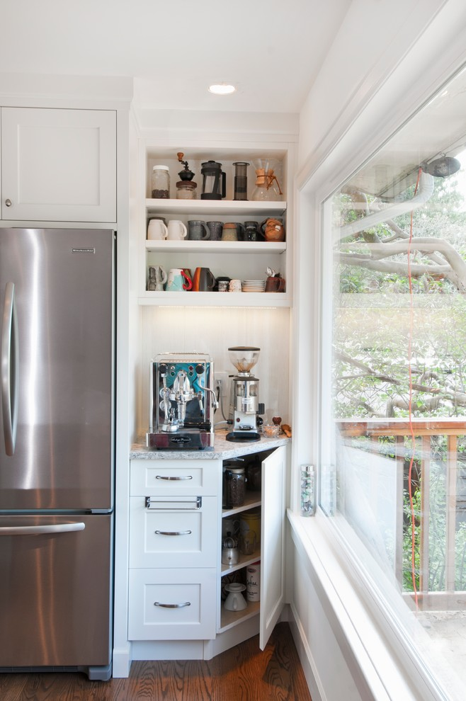 Vitamix 6000 Kitchen Transitional with 2 12 Thick Counter Top Cloud White Coffee Bar Coffee Machine Coffee