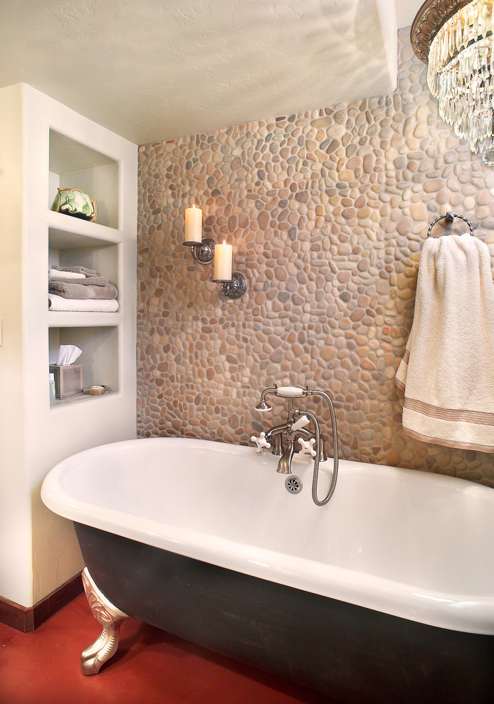 Wall Candle Sconces Bathroom Traditional with Built in Shelves Chandelier Claw Foot Bathtub Pebble Tile Recessed Shelves Red Floors Sconce