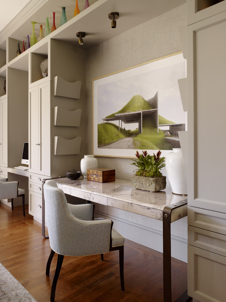 Wall File Holder Home Office Contemporary with Artwork Built in Cabinets Grasscloth Large Art Light Beige Cabinets Living Room Storage