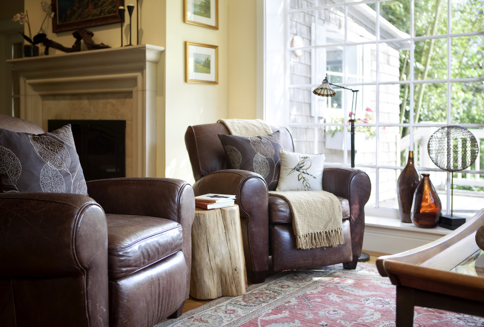 wall hugger recliner Living Room Traditional with brown leather chair Fireplace floor lamp french window leather chair oriental carpet