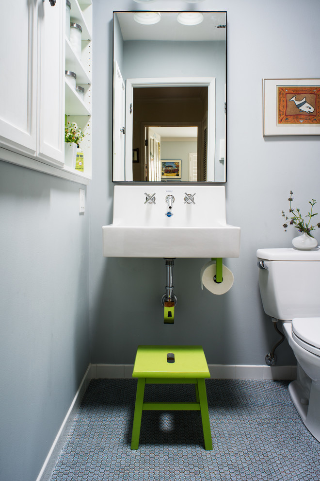 Wall Mount Bathroom Faucet Bathroom Transitional with Built in Cabinets Built in White Cabinets Gray Wall Green Step Stool Green Stool