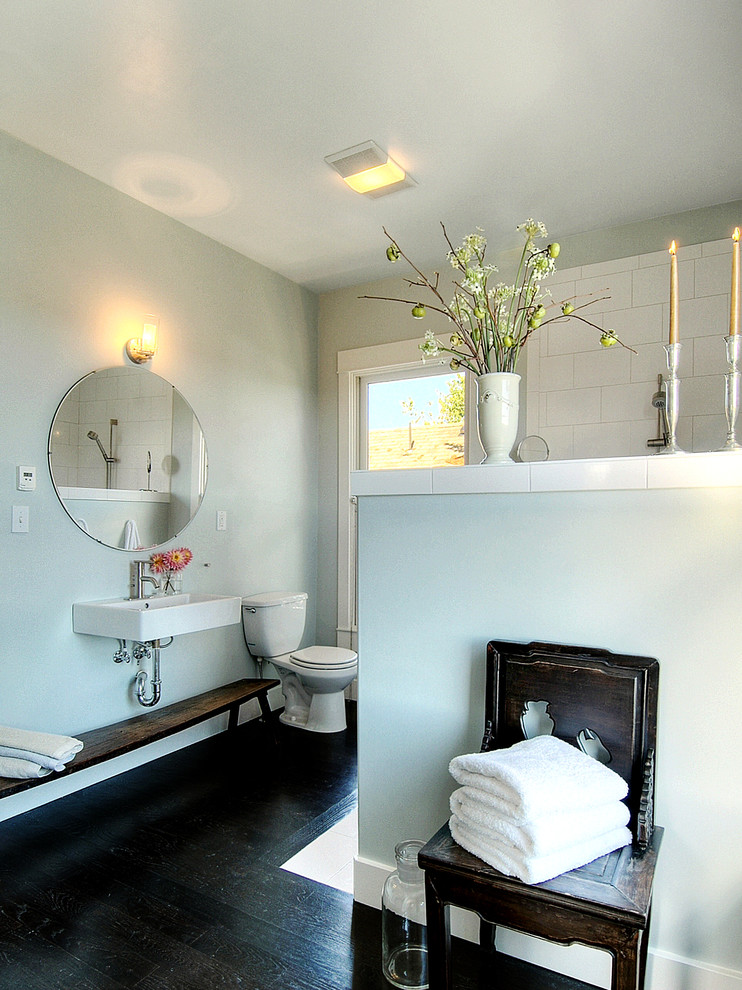 wall mount bathroom sink Bathroom Contemporary with antiques asian bench blue CEILING LIGHT clean dark stained wood floor duravit