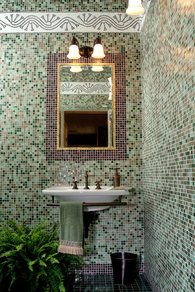 Wall Mount Bathroom Sink Bathroom Traditional with Copper Hardware Decorative Tile Trim Garbage Can Gilded Hand Towel Jewel Tones