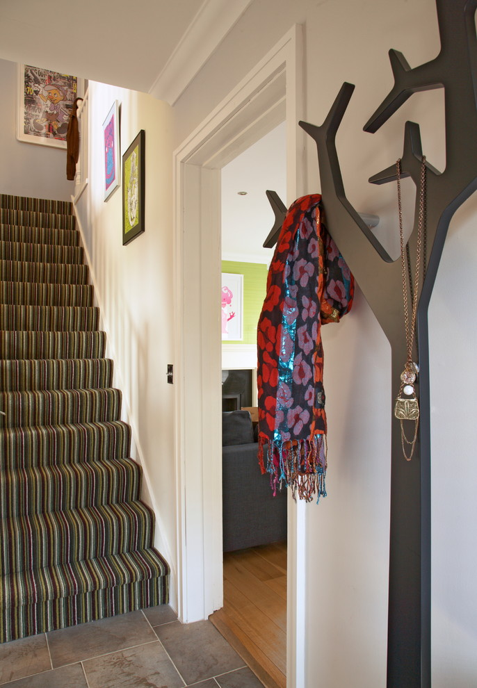 Wall Mount Coat Rack Entry Eclectic with Carpeted Stairs Coat Hanger Contemporary Hallway Staircase Art Stone Floor Stripe Carpet