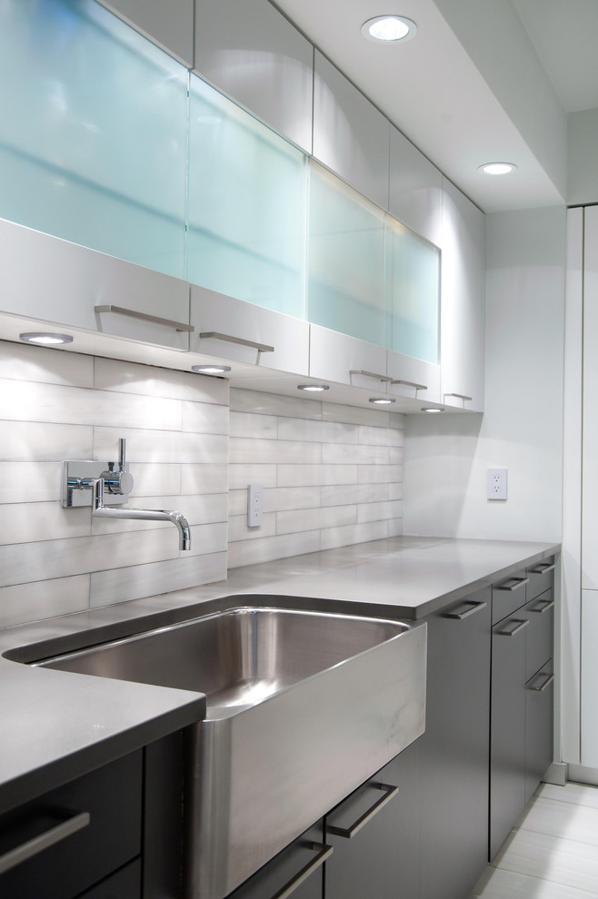 Wall Mount Kitchen Faucet Kitchen Contemporary with Black Cabinets Farm Sink Frosted Glass Cabinets Gray Countertop Grey Countertop Recessed1